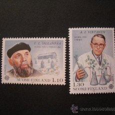 Sellos: FINLANDIA 1980 IVERT 831/2 *** EUROPA - PERSONAJES CÉLEBRES - NOBEL DE LITERATURA Y QUIMICA. Lote 29454357