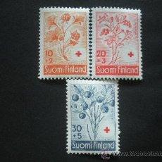 Sellos: FINLANDIA 1958 IVERT 477/9 * PRO CRUZ ROJA - FLORA . Lote 30366568