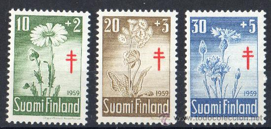 FINLANDIA AÑO 1959 YV 486/88*** PRO TUBERCULOSOS - CRUZ DE LORENA - FLORES DIVERSAS - FLORA (Sellos - Extranjero - Europa - Finlandia)