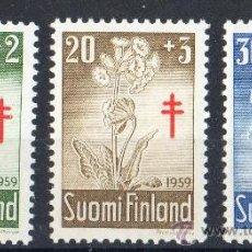 Sellos: FINLANDIA AÑO 1959 YV 486/88*** PRO TUBERCULOSOS - CRUZ DE LORENA - FLORES DIVERSAS - FLORA. Lote 35225122