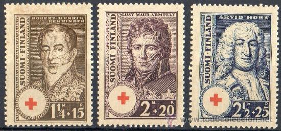 FINLANDIA AÑO 1936 YV 186/88*** PRO CRUZ ROJA - PERSONAJES (Sellos - Extranjero - Europa - Finlandia)