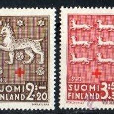 Sellos: FINLANDIA AÑO 1943 YV 261/64*** PRO CRUZ ROJA - ESCUDOS DE ARMAS - HERÁLDICA. Lote 35320344