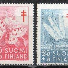 Sellos: FINLANDIA AÑO 1954 YV 418/19*** PRO OBRAS ANTITUBERCULOSIS - SALUD - INSECTOS - FAUNA. Lote 35320674