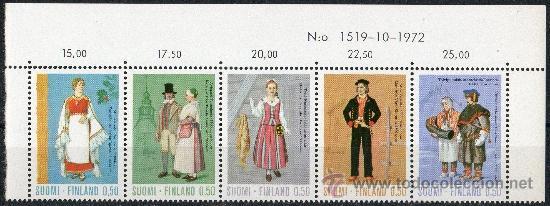 FINLANDIA AÑO 1972 YV 674/78*** BÁSICA - TRADICIONES Y COSTUMBRES (I) - TRAJES REGIONALES - FOLKLORE (Sellos - Extranjero - Europa - Finlandia)