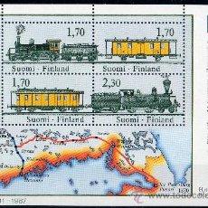 Sellos: FINLANDIA AÑO 1987 YV HB 3*** EXPOSICION FILATELICA MUNDIAL FINLANDIA 88 - TRENES - MAPAS. Lote 35607447