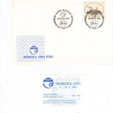 Sellos: FINLANDIA SOBRE PRIMER DIA NORDIA 1981 CON CUPON DE ENTRADA. Lote 43577348