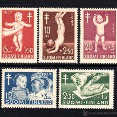 Sellos: FINLANDIA 326/30** - AÑO 1947 - PRO OBRAS ANTITUBERCULOSAS - AYUDA A LA INFANCIA. Lote 174047078
