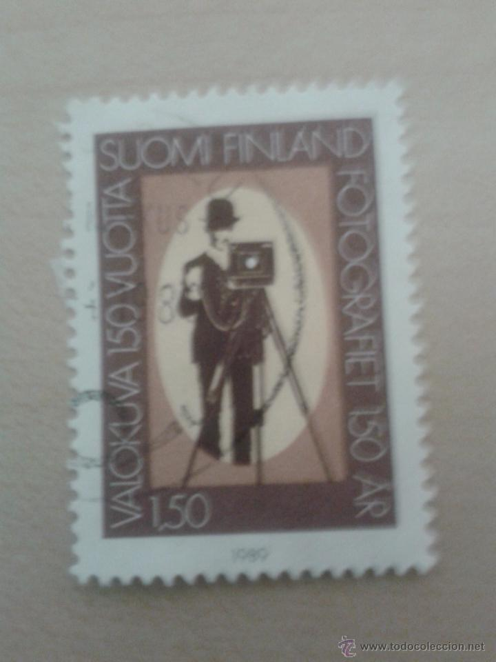 SELLO FINLANDIA 1989. MATASELLADO. 150 AÑOS FOTOGRAFÍA (Sellos - Extranjero - Europa - Finlandia)