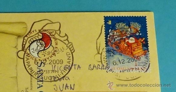 TARJETA POSTAL CIRCULADA CON MATASELLO ESPECIAL SANTA CLAUS 6.12.2009 (Sellos - Extranjero - Europa - Finlandia)