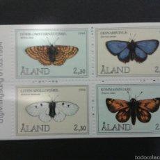 Sellos: SELLOS DE ALAND (FINLANDIA).FAUNA. INSECTOS.MARIPOSAS.YVERT 82/5. SERIE COMPLETA NUEVA SIN CHARNELA.. Lote 52740539