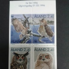 Sellos: SELLOS DE ALAND (FINLANDIA). FAUNA. AVES. YVERT 109/12. SERIE COMPLETA NUEVA SIN CHARNELA.. Lote 52873326