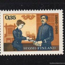 Sellos: FINLANDIA 584** - AÑO 1966 - CENTENARIO DEL SELLO - EXPOSICION FILATELICA INTERNACIONAL NORDIA 66. Lote 174047102