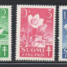 Sellos: FINLANDIA 368/70* - AÑO 1950 - FLORA - FLORES - PRO OBRAS ANTITUBERCULOSAS. Lote 56582292