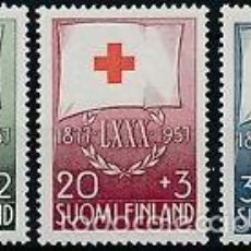 Sellos: FINLANDIA 1957 IVERT 463/5 *** 80º ANIVERSARIO DE LA CRUZ ROJA NACIONAL. Lote 57542300
