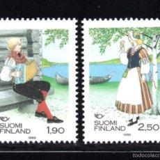 Sellos: FINLANDIA 1048/49** - AÑO 1989 - FOLKLORE - TRAJES REGIONALES - NORDEN 89. Lote 117697376