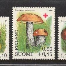 Sellos: FINLANDIA 1980 IVERT 828/30 *** POR LA CRUZ ROJA - FLORA - SETAS - CHAMPIÑONES. Lote 58109856