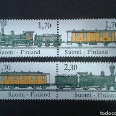Sellos: FINLANDIA. YVERT 981/4. SERIE COMPLETA NUEVA SIN CHARNELA. TRENES. Lote 100474980