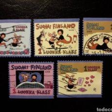 Sellos: FINLANDIA. YVERT 1601/6 FALTA EL 1605. SERIE CORTA USADA. MENSAJES. CÓMICS. Lote 197076006