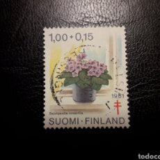 Sellos: FINLANDIA. YVERT 850. SELLO SUELTO USADO. CRUZ ROJA. FLORA.. Lote 126408350