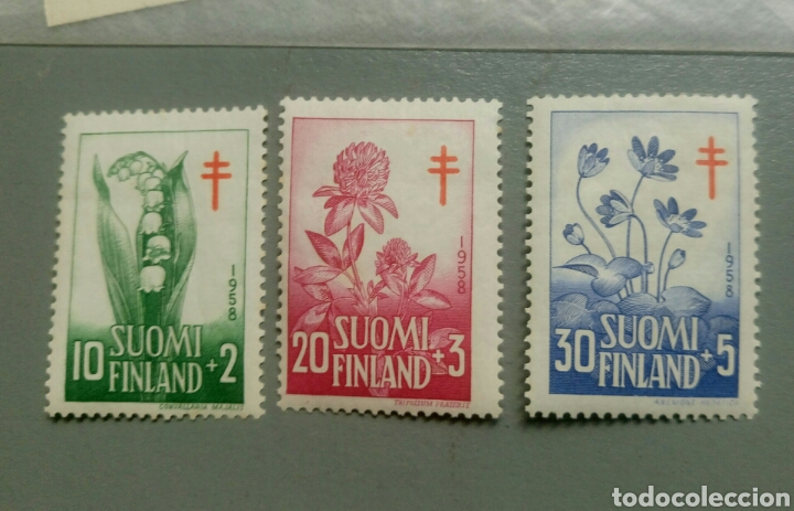 3 SELLOS FINLANDIA 472 / 74 FLORA AÑO 1958 NUEVO (Sellos - Extranjero - Europa - Finlandia)