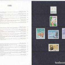 Sellos: CARPETA OFICIAL CON LOS SELLOS DEL AÑO 1986 DE ALAND 14/19 (FINLANDIA). Lote 135447170