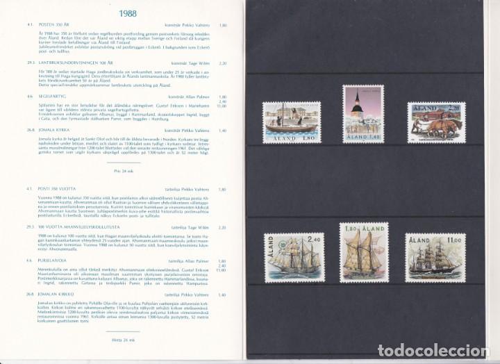 Sellos: CARPETA OFICIAL CON LOS SELLOS DEL AÑO COMPLETO 1988 DE ALAND (FINLANDIA) - Foto 2 - 135447374