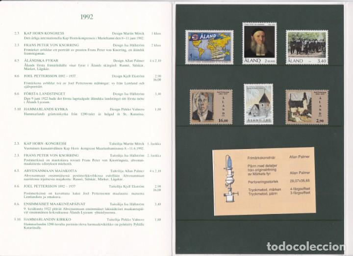 Sellos: CARPETA OFICIAL CON LOS SELLOS DEL AÑO COMPLETO 1992 DE ALAND (FINLANDIA) - Foto 2 - 135447618