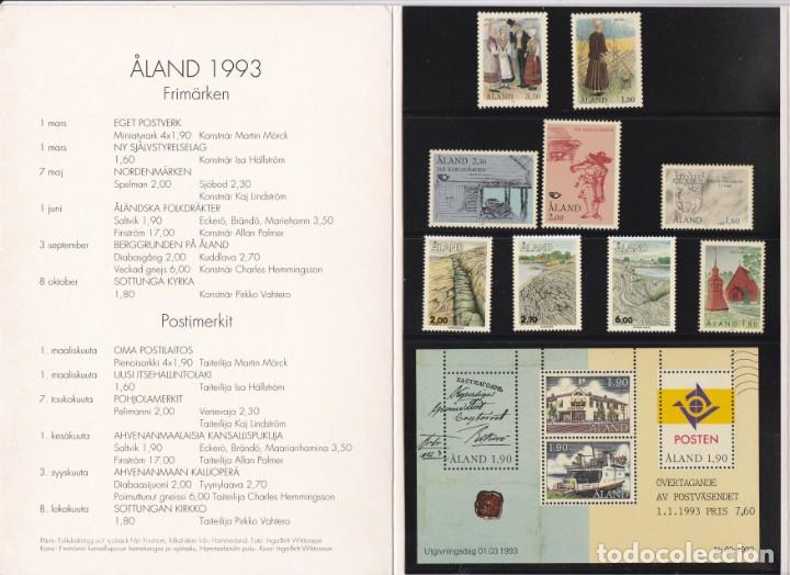 Sellos: CARPETA OFICIAL CON LOS SELLOS DEL AÑO COMPLETO 1993 DE ALAND (FINLANDIA) - Foto 2 - 135449090