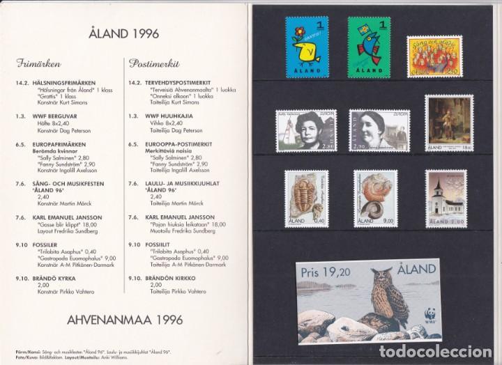 Sellos: CARPETA OFICIAL CON LOS SELLOS DEL AÑO COMPLETO 1996 DE ALAND (FINLANDIA) - Foto 2 - 135449310