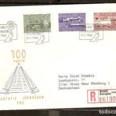 Sellos: FINLANDIA. 1962. FDC MI 543/5. TRENES. Lote 155086482