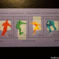 Sellos: FINLANDIA. YVERT HB-8 SERIE COMPLETA NUEVA SIN CHARNELA. DEPORTES DE INVIERNO. ESQUÍ. Lote 156658834