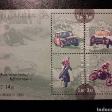 Sellos: FINLANDIA. YVERT HB-15 SERIE COMPLETA NUEVA SIN CHARNELA. DEPORTES DE MOTOR. COCHES Y MOTOS. Lote 156675402