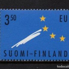 Sellos: FINLANDIA 1254** - AÑO 1996 - ADHESION DE FINLANDIA A LA UNION EUROPEA. Lote 174244330