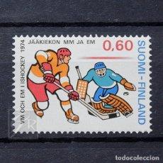 Sellos: FINLANDIA 1974 ~ DEPORTE: CAMPEONATO MUNDIAL DE HOCKEY HIELO ~ SELLO NUEVO MNH LUJO. Lote 179083527