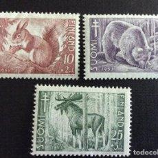 Sellos: FINLANDIA Nº YVERT 401/3** AÑO 1953. PRO OBRAS ANTITUBERCULOSAS. FAUNA. CON CHARNELA. Lote 194540736