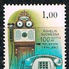 Sellos: FINLANDIA IVERT Nº 834, CENTENARIO DEL TELÉFONO EN FINLANDIA, NUEVO ***. Lote 201140212
