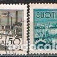Sellos: FINLANDIA IVERT Nº 266/7, TURISMO: PUENTE DE TAMPERE Y PUERTO DE HELSINKI, USADO (SERIE COMPLETA). Lote 201142810