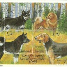 Sellos: FINLANDIA , HOJA BLOQUE DE PERROS , Nº 5 , AÑO 1989 , NUEVA. Lote 210450656