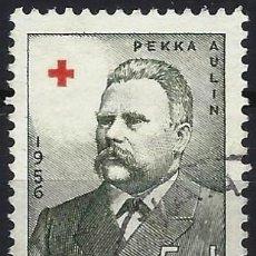 Sellos: FINLANDIA 1956 - CRUZ ROJA, ANTIGUOS PRESIDENTES, PEKKA AULIN, 1862 - 1929 - SELLO USADO. Lote 213414328