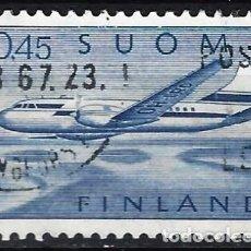 Sellos: FINLANDIA 1963 - CAMBIO DE MONEDA, CONVAIR 440 SOBREVOLANDO UN LAGO - SELLO USADO. Lote 213417237