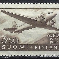 Sellos: FINLANDIA 1944 - 20º ANV. DE LA COMPAÑÍA AÉREA NACIONAL, DOUGLAS DC2 - MH*. Lote 216487160