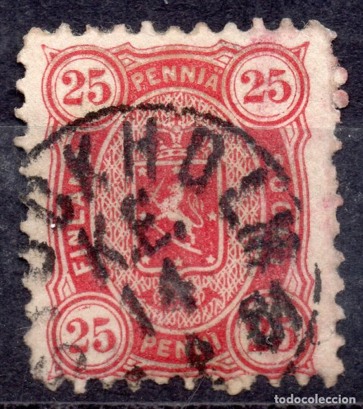 FINLANDIA /1881/USED F-VF/SC#29E/25 CENTS CARMÍN / ESCUDO DE ARMAS (Sellos - Extranjero - Europa - Finlandia)
