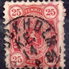 Sellos: FINLANDIA /1881/USED F-VF/SC#29E/25 CENTS CARMÍN / ESCUDO DE ARMAS. Lote 217595550
