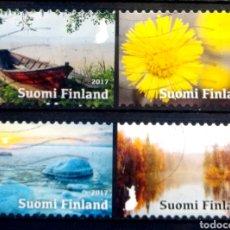 Sellos: FINLANDIA 2017 LAS 4 ESTACIONES SERIE DE SELLOS USADOS. Lote 221984030