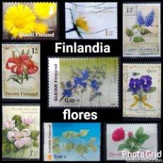 Sellos: FINLANDIA FLORES LOTE DE 9 SELLOS USADOS. Lote 222002650