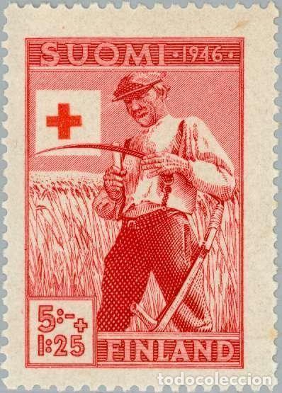 FINLANDIA 1946 SCOTT B76 SELLO ** CRUZ ROJA AGRICULTOR AFILANDO GUADAÑA MICHEL 322 YVERT 307 SUOMI (Sellos - Extranjero - Europa - Finlandia)