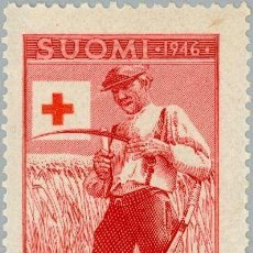 Sellos: FINLANDIA 1946 SCOTT B76 SELLO ** CRUZ ROJA AGRICULTOR AFILANDO GUADAÑA MICHEL 322 YVERT 307 SUOMI. Lote 222476580