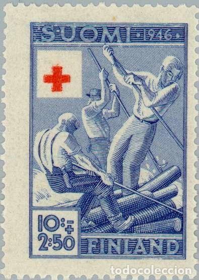 FINLANDIA 1946 SCOTT B77 SELLO ** CRUZ ROJA TRANSPORTANDO ARBOLES POR RIO MICHEL 323 YVERT 308 (Sellos - Extranjero - Europa - Finlandia)