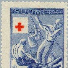 Sellos: FINLANDIA 1946 SCOTT B77 SELLO ** CRUZ ROJA TRANSPORTANDO ARBOLES POR RIO MICHEL 323 YVERT 308. Lote 222476622