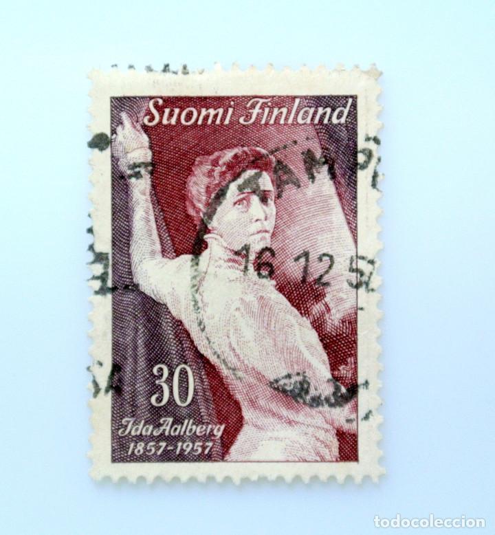 SELLO POSTAL FINLANDIA 1957, 30 MK , CENTENARIO ANIVERSARIO ACTRIZ IDA AALBER, USADO (Sellos - Extranjero - Europa - Finlandia)